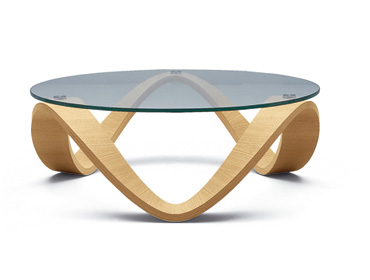 Round Wood Glass Coffee Table